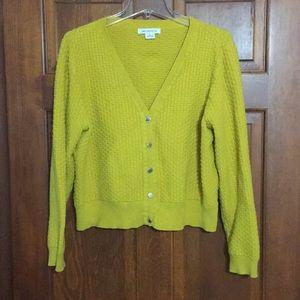 Liz Claiborne Mustard Yellow Cardigan Size XL